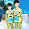 Niños Pijama de Manga larga 2016 de primavera y otoño traje de Ropa Niños Niñas Niños de Dibujos Animados Pijamas ropa de Dormir de Bebé de Algodón de Impresión