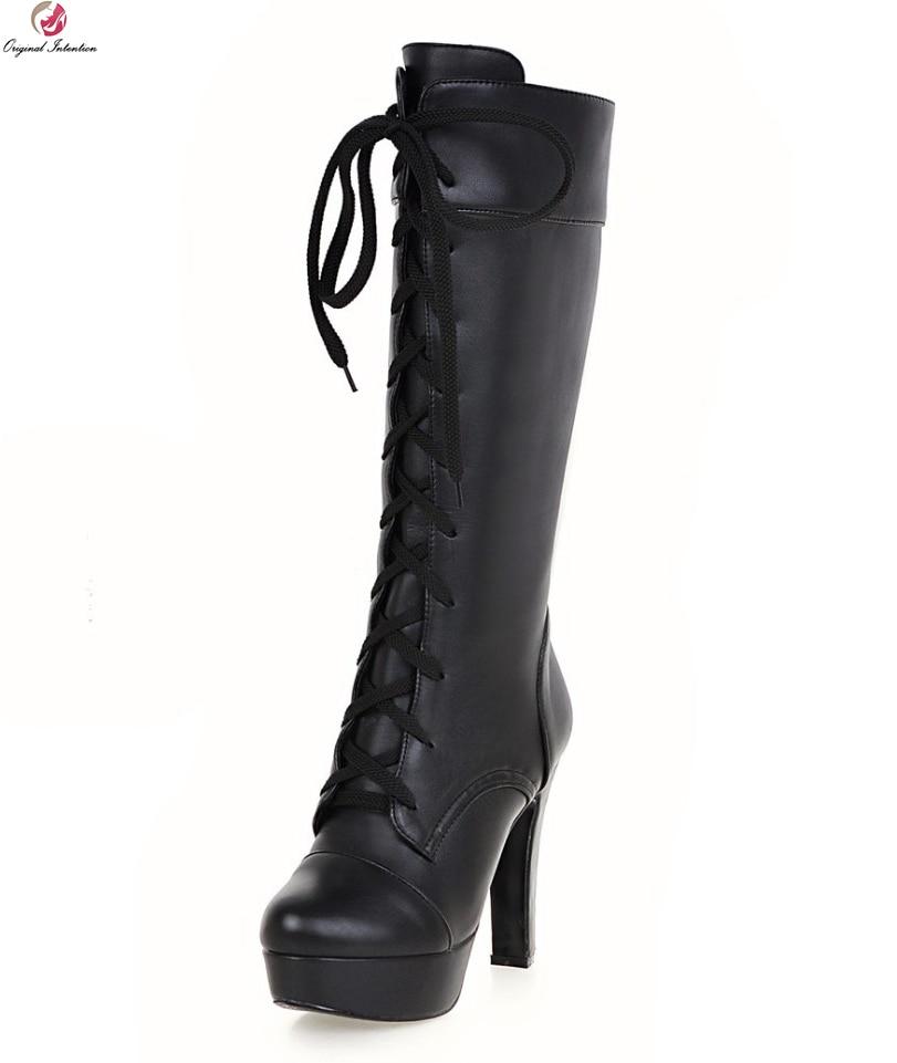 Original Intention Women Mid-Calf Boots Round Toe Square Heels Winter Boots Fashion Black White Beige Shoes Woman US Size 3.5-12 рюкзак case logic 17 3 prevailer black prev217blk mid