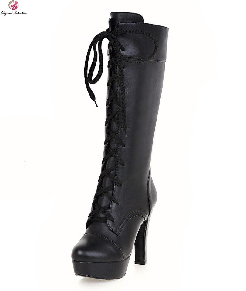 Oryginalny intencji kobiety połowy łydki buty okrągłe Toe kwadratowe obcasy buty zimowe moda czarny biały beżowy buty kobieta usa rozmiar 3.5 12 w Buty do połowy łydki od Buty na  Grupa 1