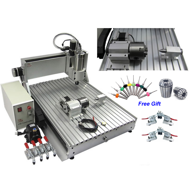 USB 2.2KW 4 Axis Mini CNC Router 6090 Engraving Machine Metal Cutting Milling Drilling