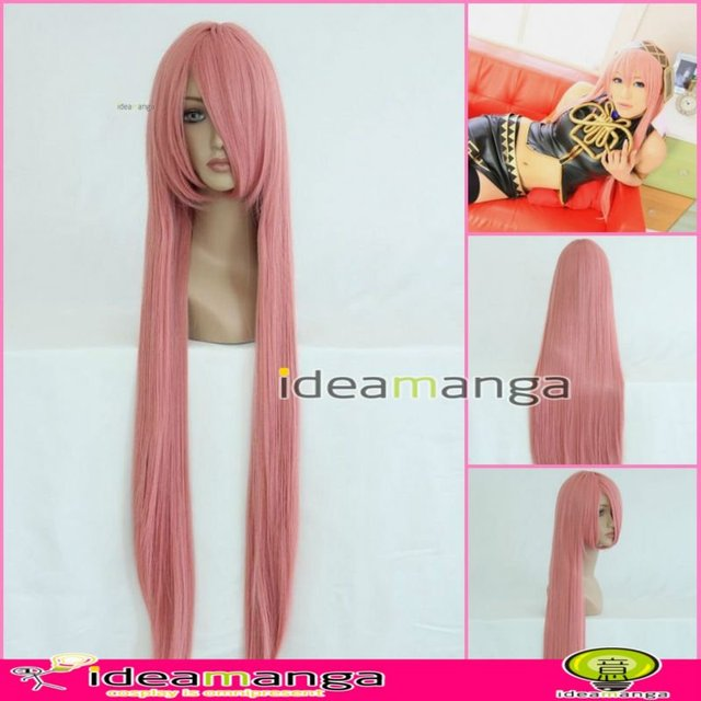 Manga Amime V+ VOCALOID Megurine Luka Bianchi Cosplay Hair Wig High-temperature Resistance Fibers halloween party 100cm pink