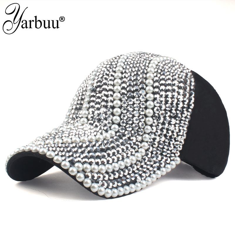 [YARBUU]new brand   Baseball     caps   for women rhinestone hat Lady Girl   cap   black colour snapback   cap   Casquette hats Adjustable   Caps