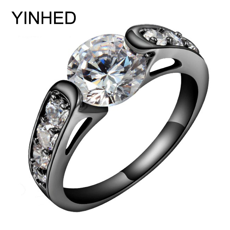 YINHED Unique Black Gold Filled Wedding Band Ring 2 Carat ...