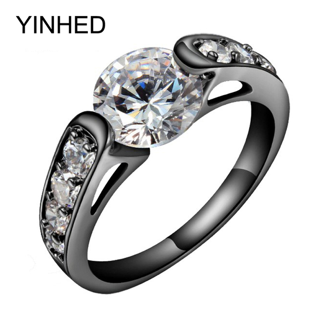 YINHED Unique Black Gold Filled Wedding Band Ring 2 Carat CZ Diamant Engagement Rings for Women Fashion Jewelry Gift ZR611
