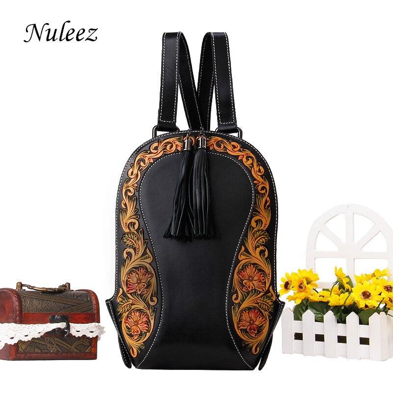 Nuleez genuino zaino in pelle di vacchetta delle donne intagliato a mano del fiore Dell'annata classica borsa di lusso di alta qualità 2018 nuovo