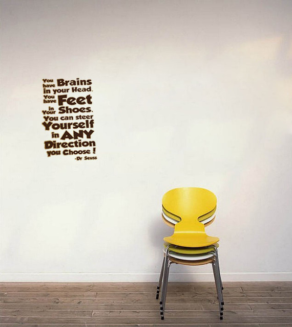You Have Brains In Your Head Dr Seuss Wall Decal Quote Living Room  Decorative Sticker Bedroom Wallpaper Murals Part 53