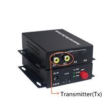 שידור אודיו סיבי משדר 2 ערוץ אודיו ממיר 20 KM מצב יחיד סיבים אופטי