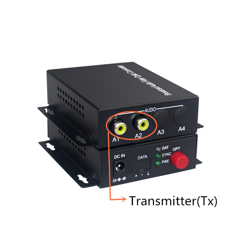 Audio Broadcast Fiber Transceiver 2 Channel Audio Optical Converter Mode Single Fiber 20KM