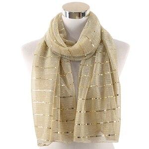 Image 5 - 2019 Vrouwen Sjaal Shiny Shimmer Pailletten Goud Zilver Garen Moslim Glitter Hijab Sjaal Islamitische Arabische Hoofd Sjaals Foulard De Mousseli