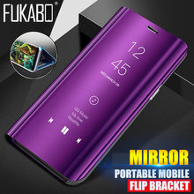 Clear View Mirror Stand Flip Case For Xiaomi Redmi Note 5 Pro Mirror Leather Phone Case For Redmi 4X 5 Plus Full Cover Cases