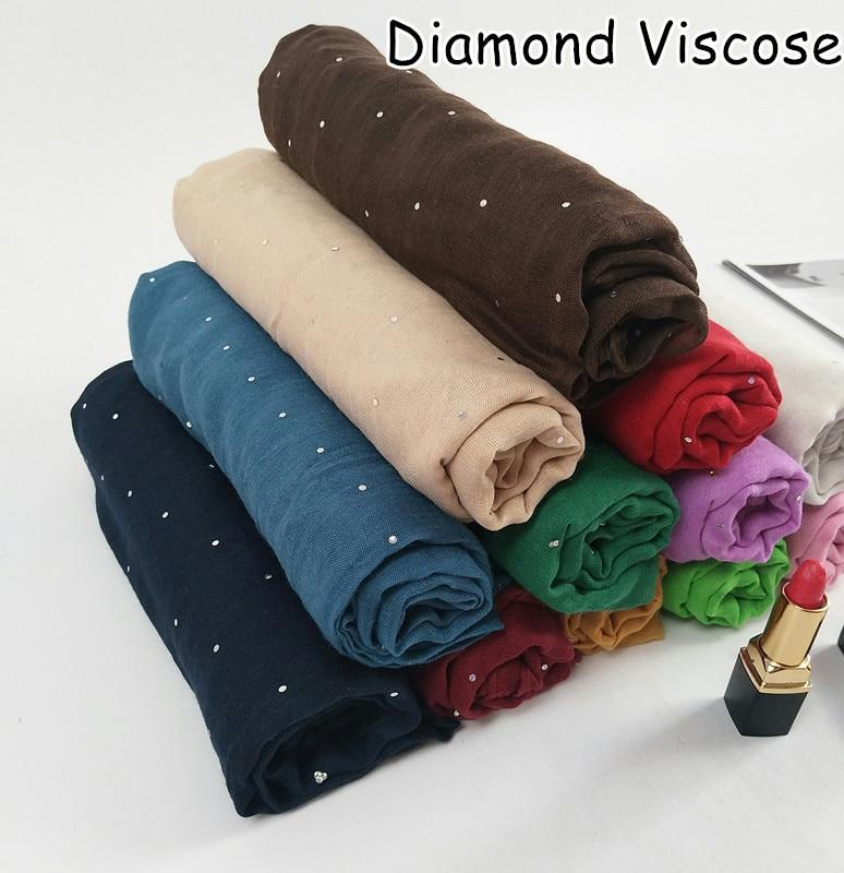 M7  High Quality Diamond Viscose Hijab Muslim Scarf  Scarves Shawls 180*90cm Headband Wrap Can Choose Colors
