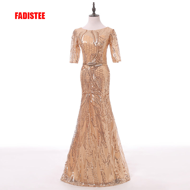 FADISTEE New arrival elegant party prom dress Vestido de Festa A-line sequined sashes O-neck mermaid long style dress