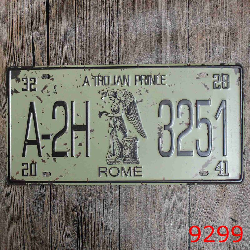 Direct selling LOSICOE Vintage license plate A-2H 3251 Wall art craft metal painting vintage Iron for bar home decor 15X30 CM