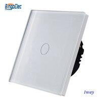 Free Shipping 1gang 1way White Crystal Toughened Glass Panel Touch Sensor Wall Switch EU UK Standard