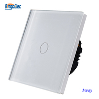 Free Shipping 1gang 1way White Crystal Toughened Glass Panel Touch Sensor Wall Switch EU UK Standard