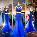 Sexy Style 2 Piece Royal Blue Evening Dress High Neck Crystals Beading Tulle Detachable Party Gowns vestidos de fiesta Custom