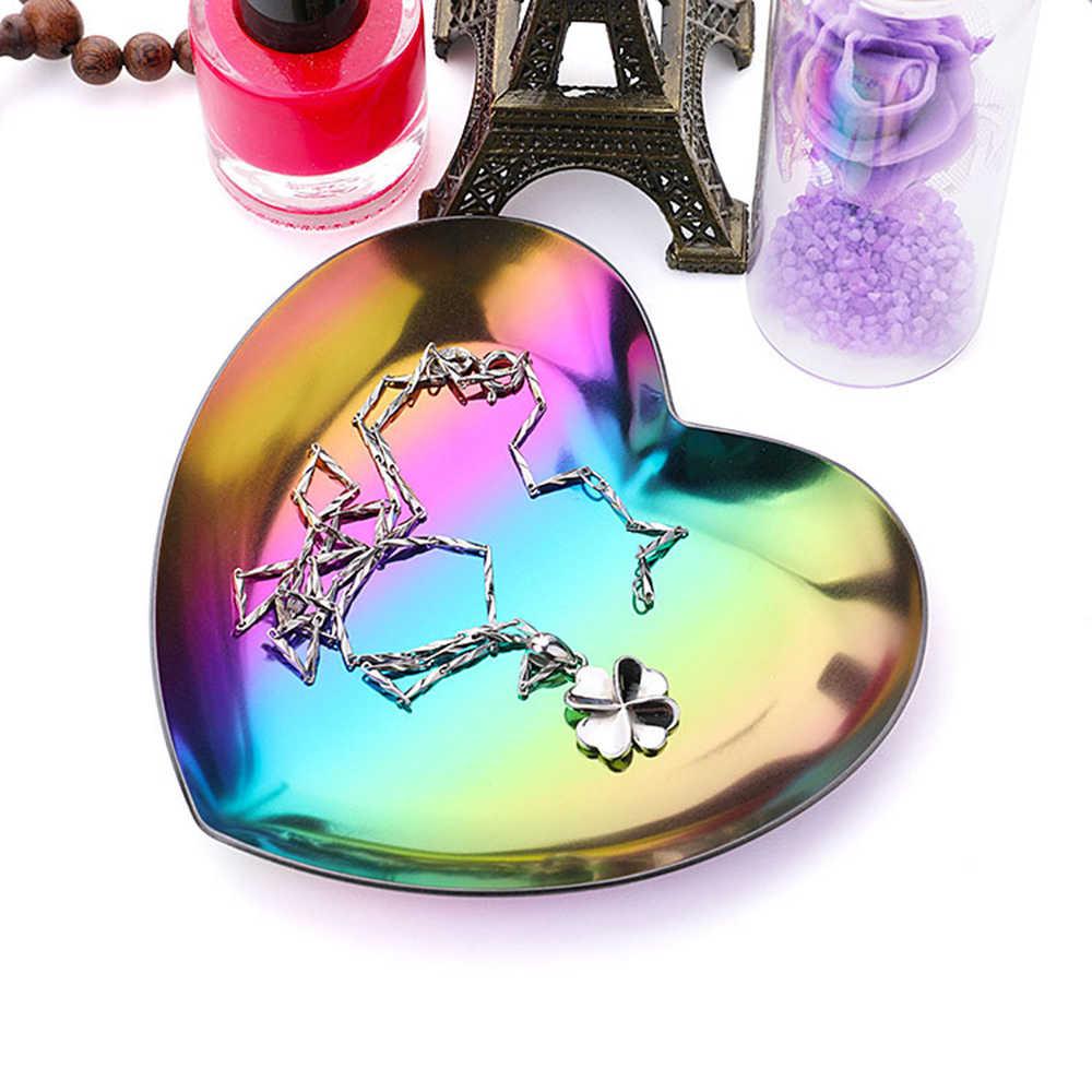 1 PC Hati Berbentuk Logam Penyimpanan Tray Piring Buah Barang Kecil Perhiasan Display Tray Cermin Dekorasi Rumah