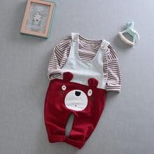 Korean Toddler Boys Clothing Sets Baby Boy Striped Shirt + Cartoon Bear Belt Pants Suit Children Kids 2017 New Spring Clothes
