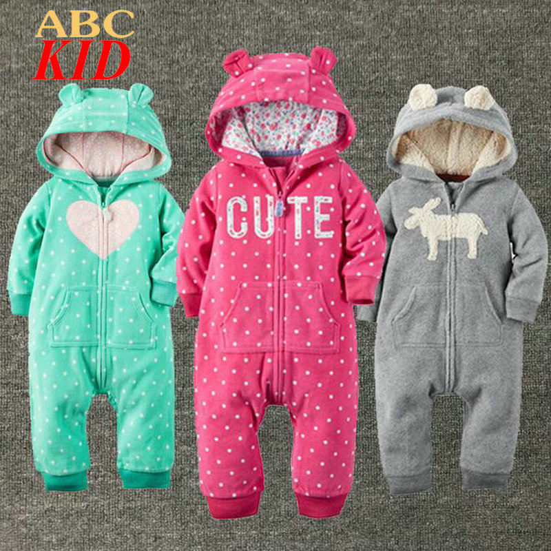 Brand Hoodies Rompers Baby Boy Girl Fleece Romper Winter Thick Jumpsuit Roupa Infantil Plaid Pattern Jumpsuits Clothes KD312 2016 bebe rompers ropa pink minnie hoodies newborn long romper baby girl clothing roupa infantil jumpsuit recem nascido
