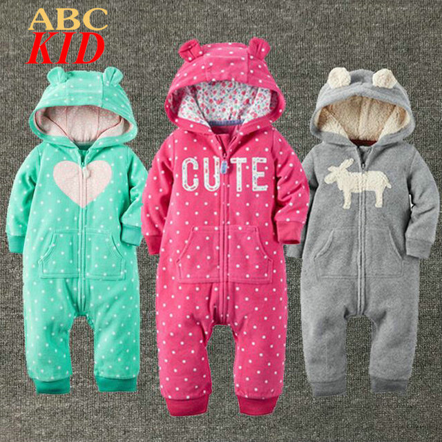 3e67c5f527d Brand Hoodies Rompers Baby Boy Girl Fleece Romper Winter Thick Jumpsuit  Roupa Infantil Plaid Pattern Jumpsuits