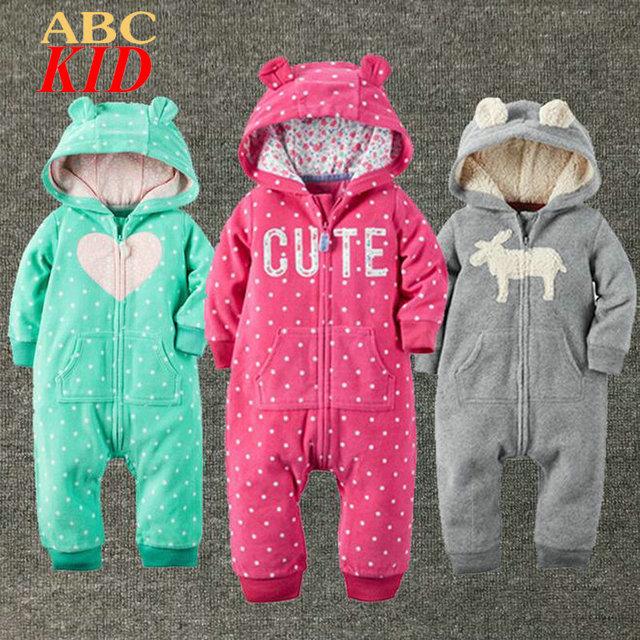 Sudaderas de la marca Del Bebé de Los Mamelucos Fleece Mameluco Invierno Gruesa Mono Patrón Mono de la Ropa A Cuadros KD312 Roupa infantil