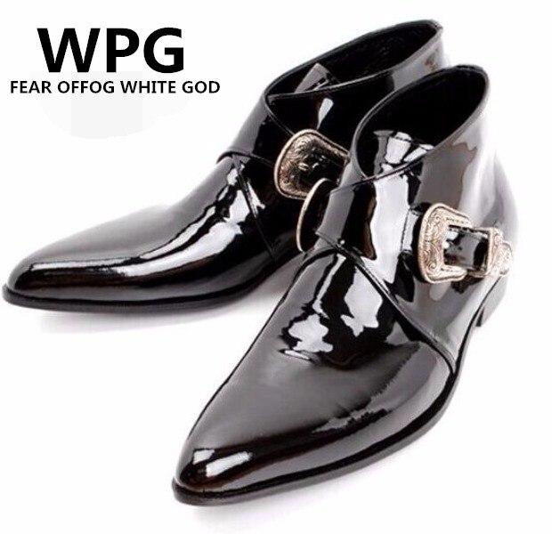 Chelsea Preto Primavera Sapatos De Preto Botas Britânico marfim Wpg outono Boots Moda Brogues Casual Ankle Estilo Homens Dos Couro p17dIqwFx