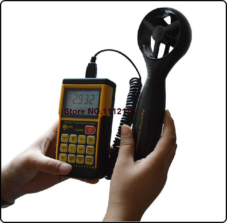 TECMAN TD8902 0.3-45M/S split digital anemometer wind speed meter Thermometer air speed meter Air Flow Meter 0~999900m3/min peakmeter ms6252b digital anemometer air speed velocity air flow meter with air temperature humidity rh usb port