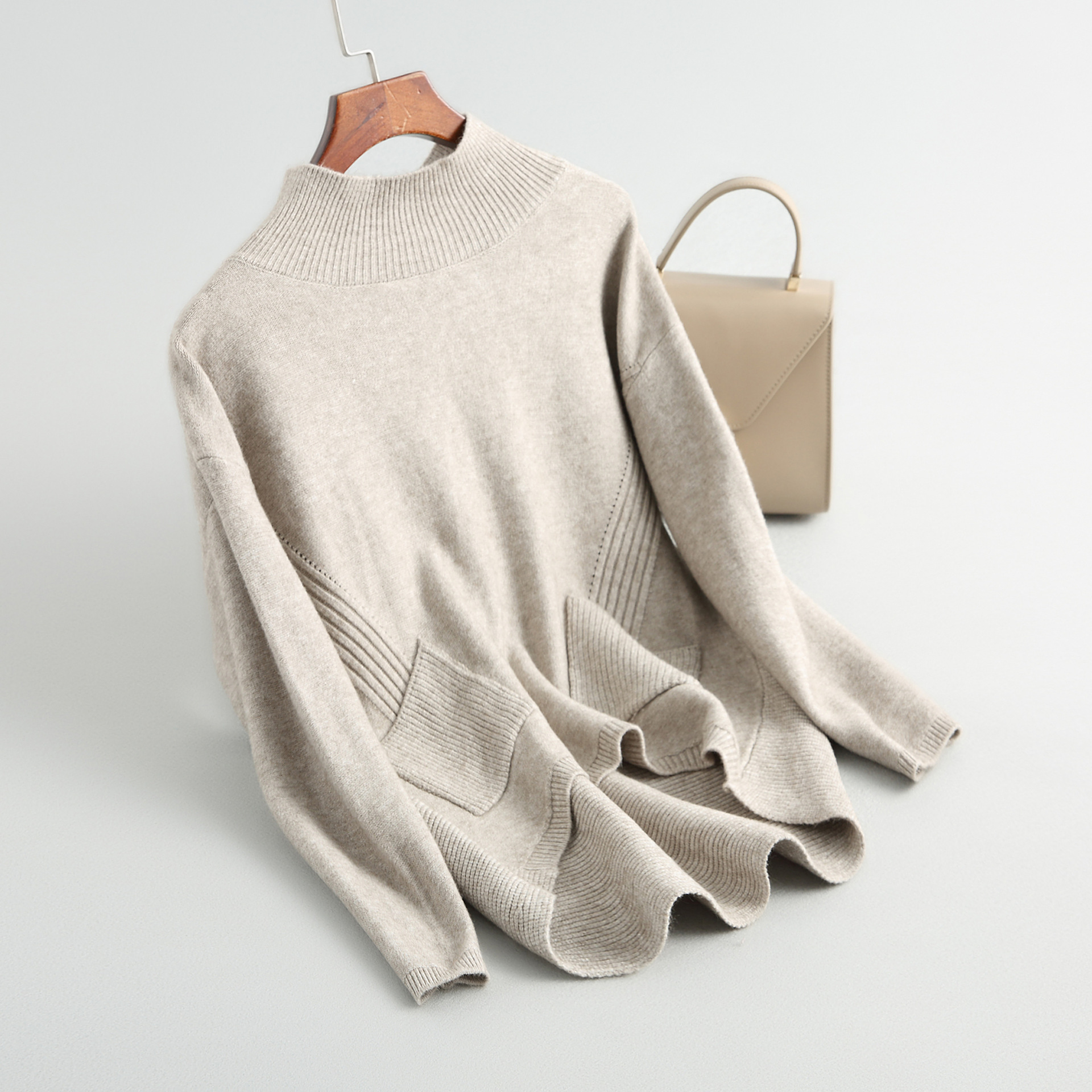 Loose Pocket Knit Minimalist Knit Top 8-1831 Knit Sweater Women Sweaters And Pullovers  Turtleneck Sweater  Autumn Winter