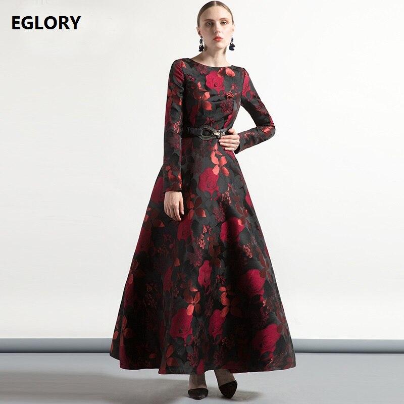 XXXXL Women Maxi Gowns Party Evening New Long Dress 2018 Autumn Winter Female Vintage Jacquard Floral Print Dress Vestido Fiesta