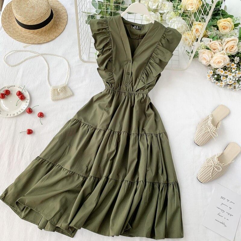 2020 V Neck Ruffles Button Midi Dress Summer Party Tank Sundress Women Casual High Waist A-Line Beach Holiday Vestido De Festa