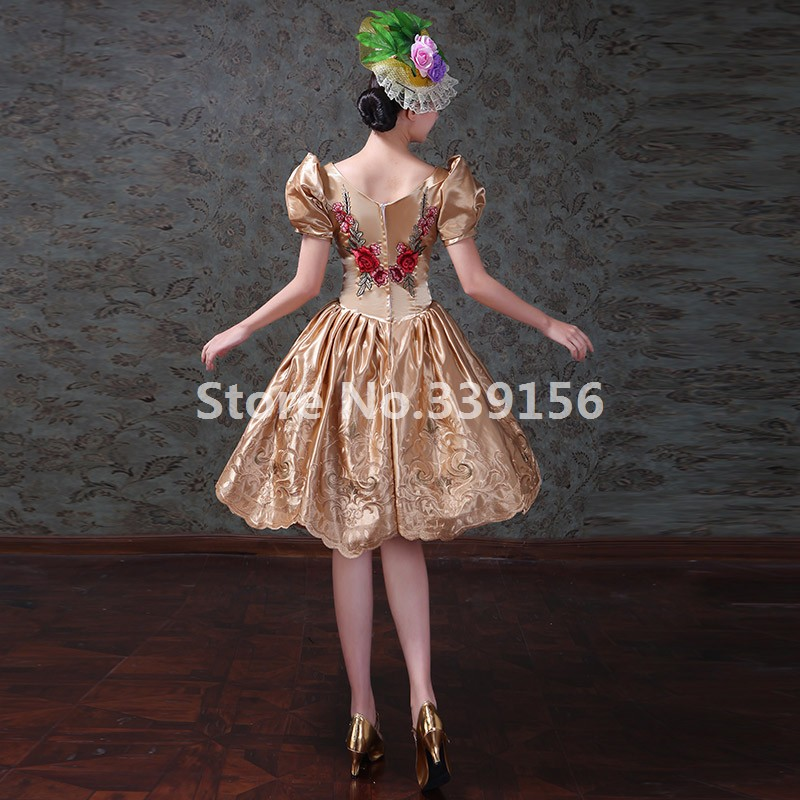Christmas Vintage Printed Gold Short Gowns Masquerade Dresses Stag... b7a4d5af8585
