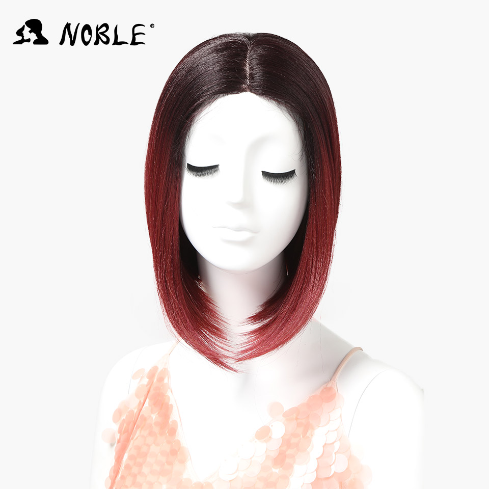 Nobel African American Short Wigs Synthetic Lace Front Wigs For Women Ombre Red Bob Wig T Part Lace 12inch Free Shipping