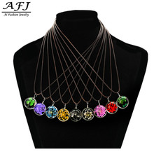 Hot Sale Real Dandelion/Green Leaves/Petal/Flowers Jewelry Crystal Glass Ball Necklace Strip Leather Chain Pendant Necklaces