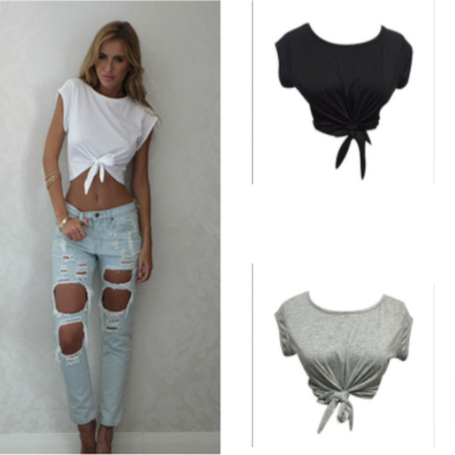 3d995e5f028 Women Knotted Tie Front Crop Tops Cropped Lumbar T Shirt Casual Blouse Tank  Top Camis Sleeveless White Grey Black Color
