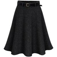 Winter Warm Pure Color Kobiet Elastyczna Wysokiej Talii Wełniana Spódnica Casual Ponadgabarytowe Elegancki Kobiece Luźne Plisowana Średniej Spódnica 5XL 6XL