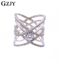 GZJY Beautiful Round Zircon Cross Circle White Gold Color Wedding Ring For Women Anniversary Party Jewelry