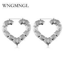 WNGMNGL 2018 Women Gold Earrings Bamboo Hoop Heart Big Large Earring For New Charm Statement Fashion Jewelry Gift