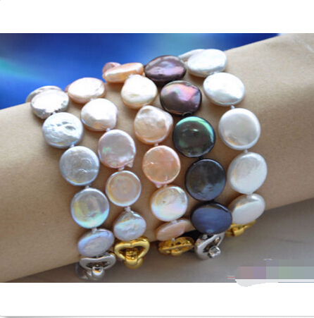free shipping P4028 wholesale 8 14mm coin freshwater pearl bracelet 5pcs@^Noble style Natural Fine jewe hyperset noble hs6012
