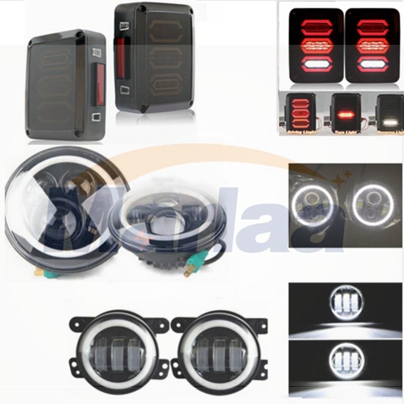 For 07-15 Jeep Wrangler Hi-Power 40W White Angle Eye LED Headlights/Smoken LED Tail Lights/ White Angle Eye 4 Inch Led Fog Light siku внедорожник jeep wrangler с прицепом для перевозки лошадей
