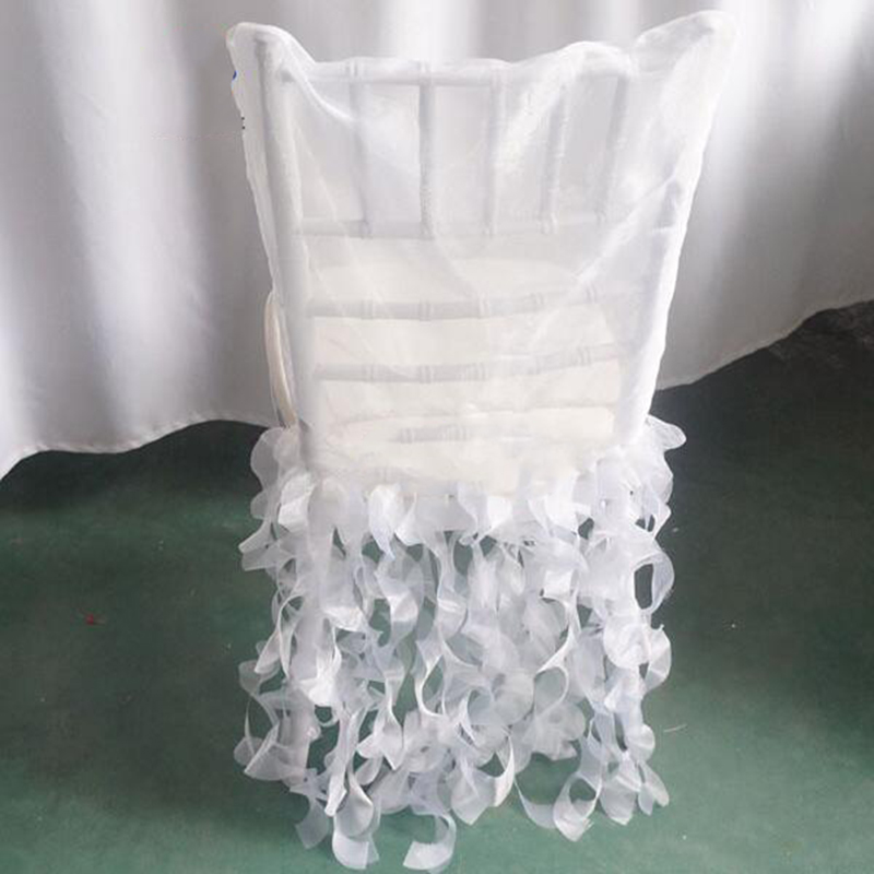 new design romantic pure white wedding chair cover sashes