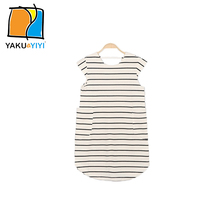 YKYY YAKUYIYI 2016 Brand New Summer Loose Fit Round Bottom Girls Dress Stripes V-Neck Pockets Short Sleeve Children Clothing