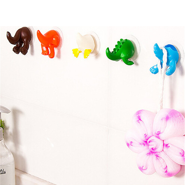 6Pcs/set Cute Cartoon Animal Tail Strong Sucker Suction Hook Baby Bathroom Key Towel Hanger Holder Hooks Home Kitchen Accessorie 4