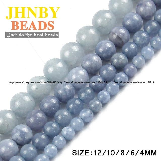 JHNBY Top di Pietra Naturale di qualità AAA royalblue mare perline branelli Allentati Rotondi di Pietra sfera di 6/8/10/ 12 MILLIMETRI braccialetto di Monili Adatti Fare FAI DA TE