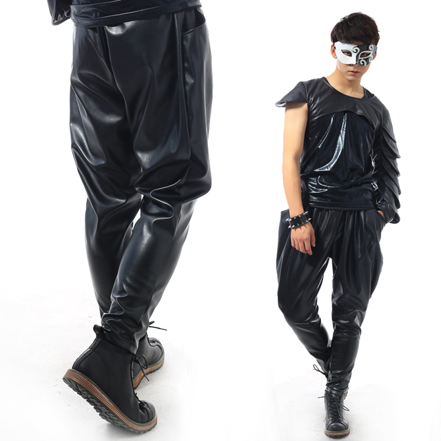 Best version, New Fashion Brand Hip Hop personality Performance sweatpants Male Trousers stage Faux Leather Harem pants 4