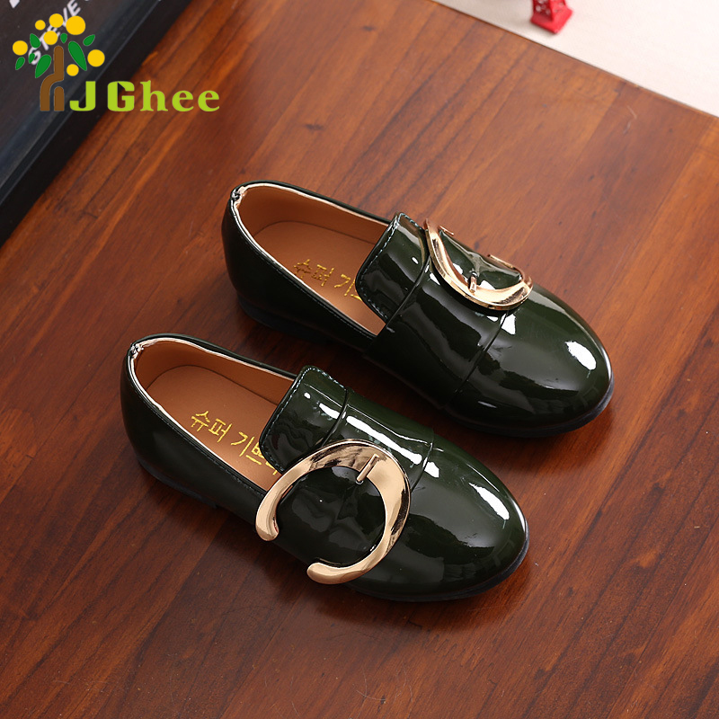 J Ghee Boys Girls Summer Shoes British Style UK Wind Fashion Kids Sandals PU Patent Leather With Big Buckle Soft Slip-on Shoes