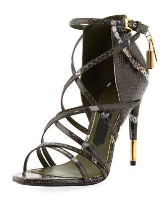 Hot Sale Women Elegant Black Serpentine Leather Open Toe Cross Tied Buckle Strap Sandals Fashion Lock Decoration High Heel Pumps elegant wedges open toe women sandals ankle buckle rivet shoe women cross tied women casual shoes rome hollowed out lady sandals