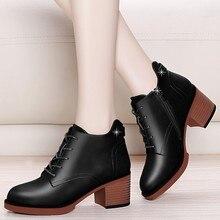 цены на 2018 Women Ankle Boots Lace Up Platform Martin Boots Female Genuine Leather Shoes Autumn Winter Retro Ankle Boots YG-B0019  в интернет-магазинах