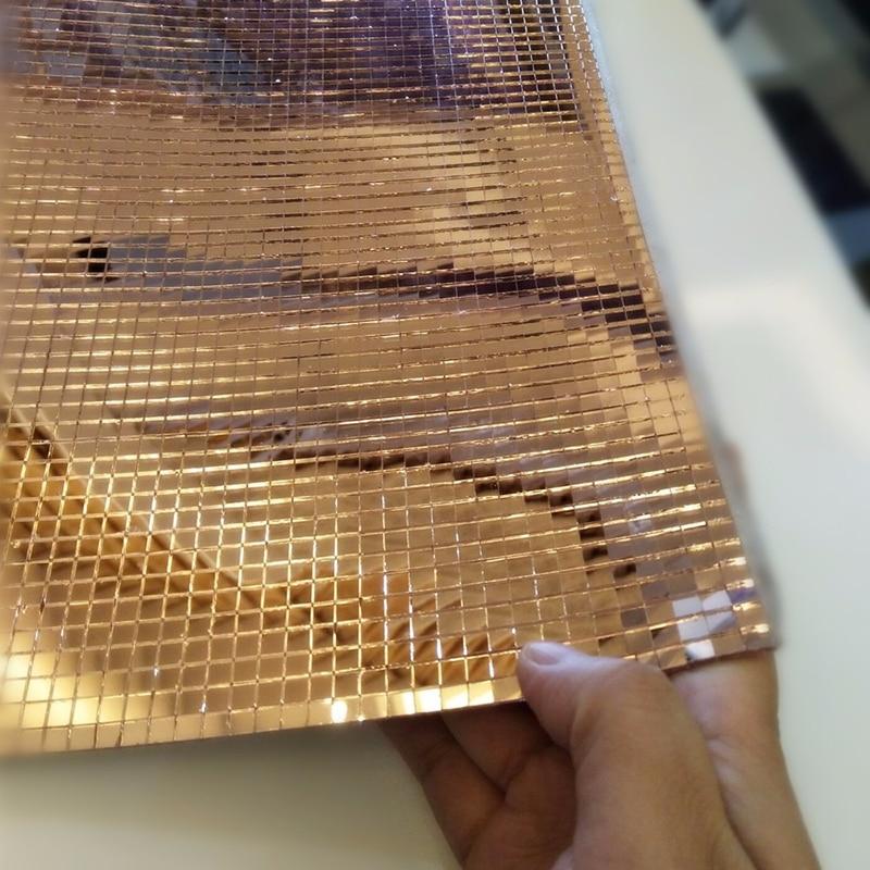 "10 pcs 12x12/"" Rose Gold Mirror Mosaic Peel and Stick Tiles Wall Panels DIY Home"