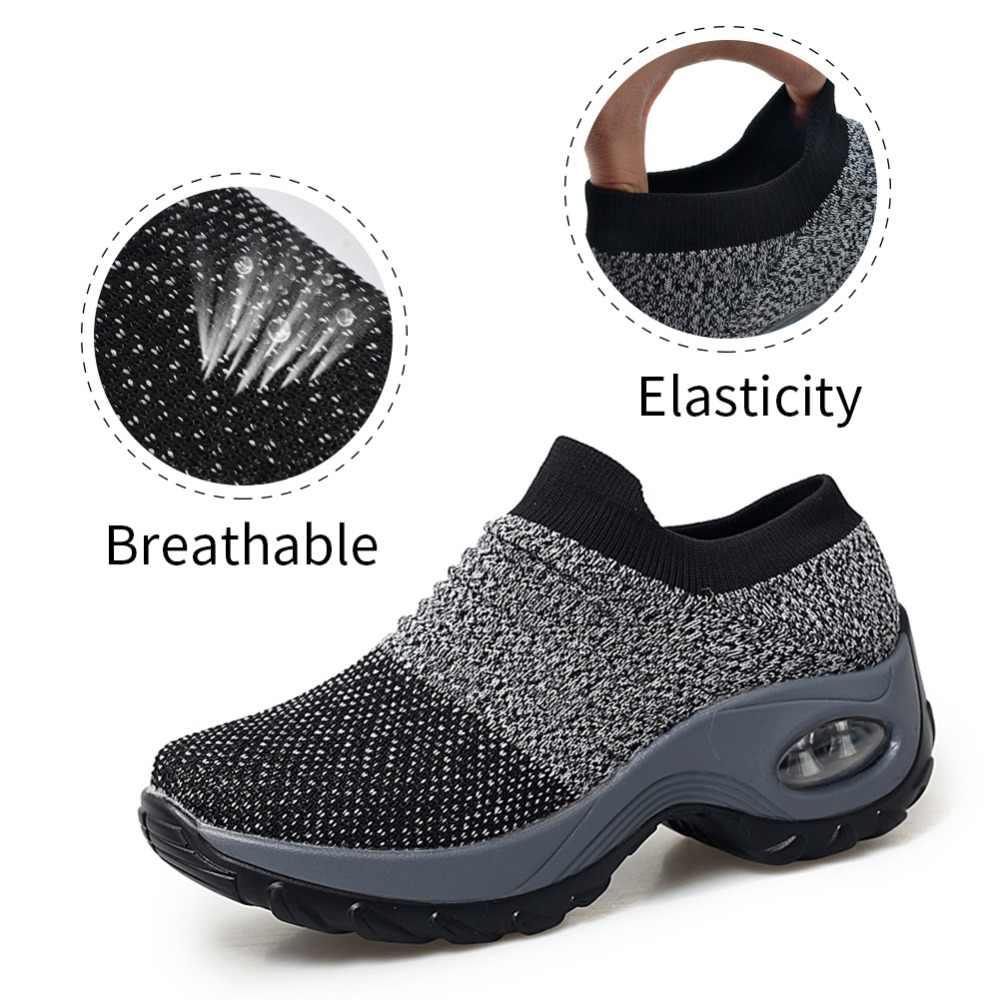 021c85a38 ... Women summer sneakers sock shoes ladies flats platform breath mesh slip  on tenis feminino chaussure femme ...