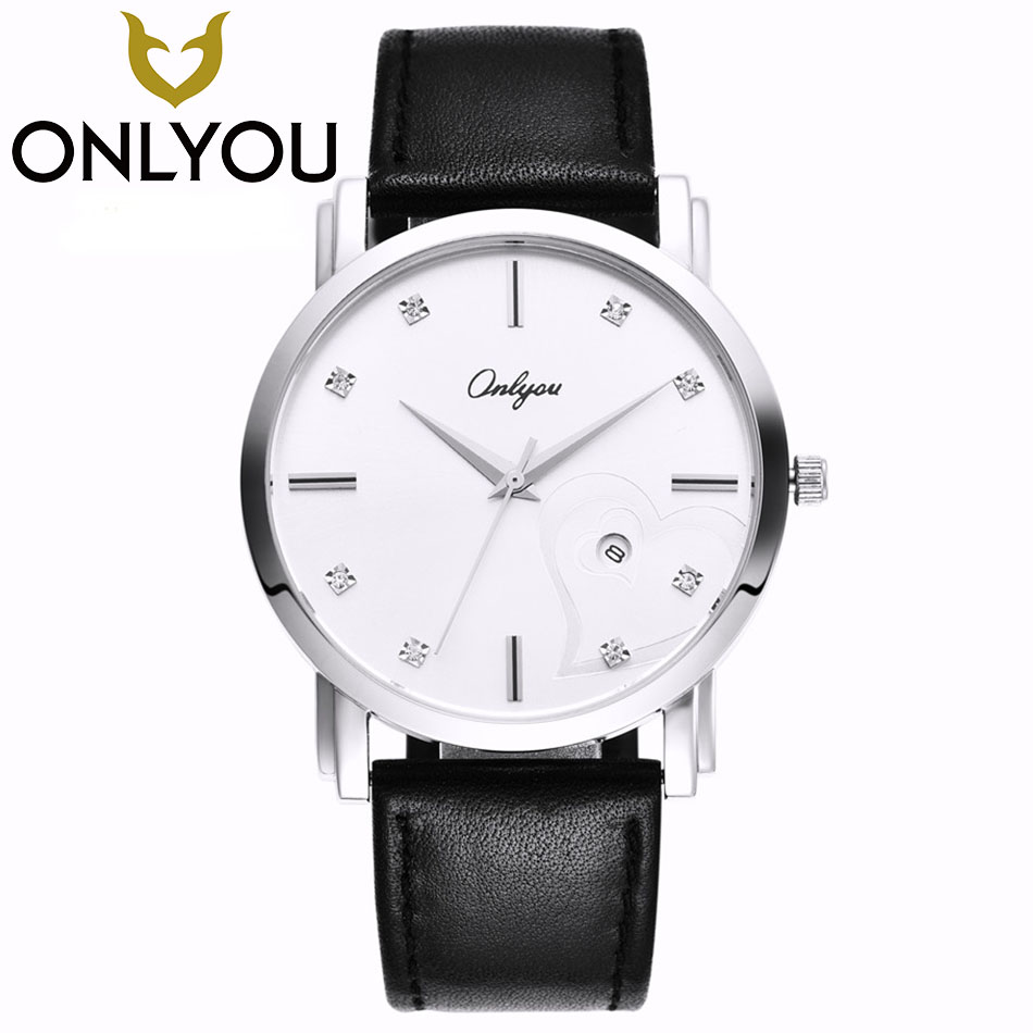 ONLYOU Lovers Watch Men 2017 Top Brand Luxury Famous Wristwatch Male Clock 50M Waterproof Leather Strap Quartz Watch Wholesale onlyou women top brand fashion watch super slim quartz waterproof wristwatch females casual fabric gift watces wholesale